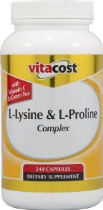 Vitacost L-Lysine & L-Proline Complex -- 240 Capsules by Vitacost Brand. $14.59. Vitacost Brand. What is Vitacost L-Lysine & Proline Complex?Vitacost L-Lysine & L-Proline Complex combines the amino acids L-lysine and L-proline with ascorbic acid, green tea, quercetin and a citrus bioflavonoid complex. What is Vitacost L-Lysine & Proline Complex?Vitacost L-Lysine & L-Proline Complex combines the amino acids L-lysine and L-proline with ascorbic acid, green tea, quercetin ...