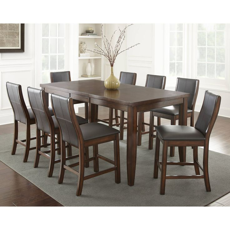 tempe faux leather dining set by greyson living tempe 7pc counter height set brown size 7piece sets