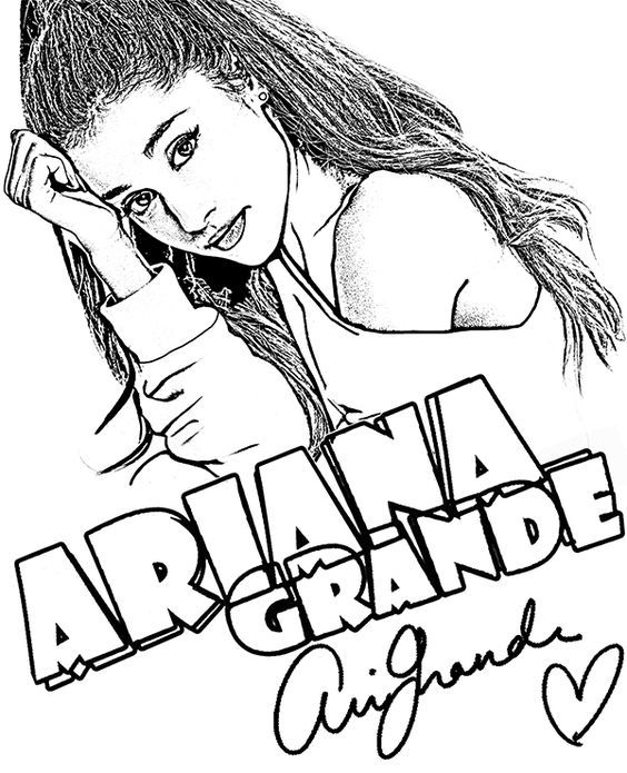 Get coloring with this ariana grande coloring pagesclick