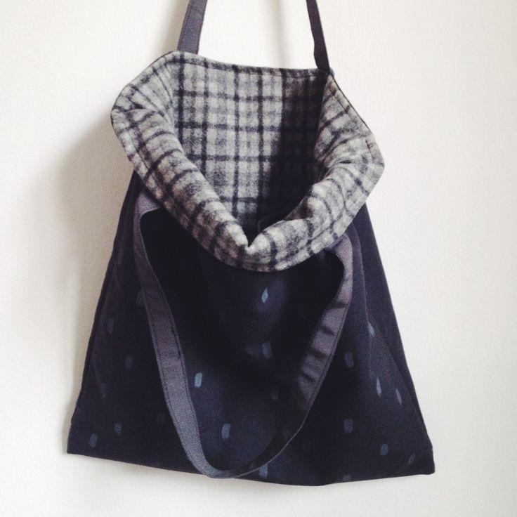 Large black tote bag with screen printed pattern and vintage wool