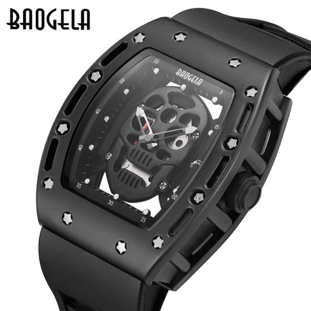 BAOGELA Men Watches fashion New Luxury Brand Hollow Silica gel Clock Male  Casual Sport Watch Men Lumin Wrist Quartz sport Watch