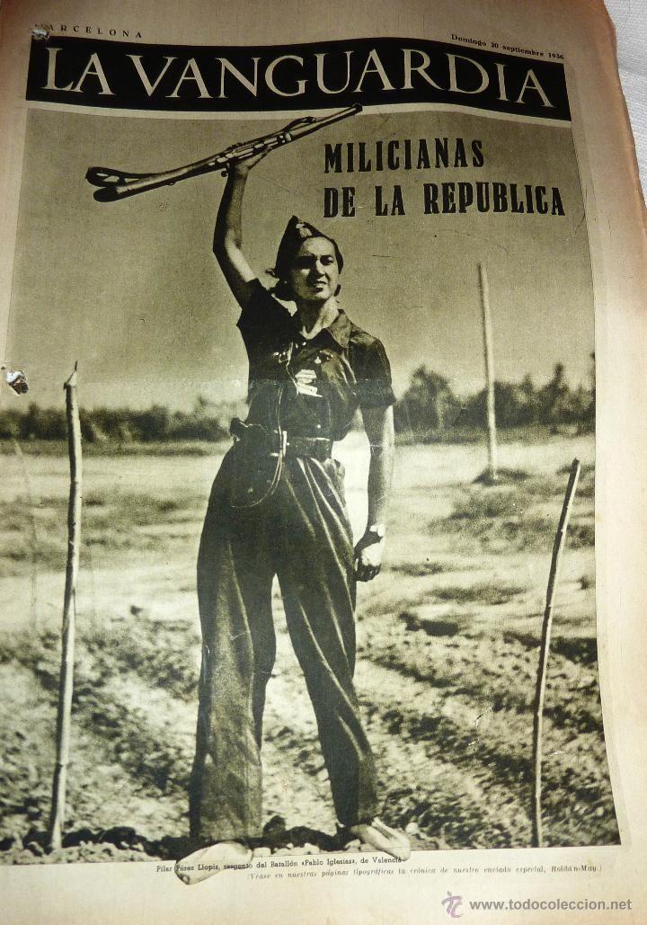 La Vanguardia 1936 . 4 pág Guerra civil Milicianas de la Republica Bombardeo Alcazar Teruel - Foto 1