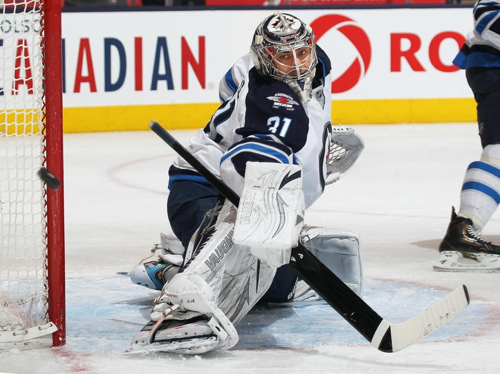Ondrej Pavelec #31 of the Winnipeg Jets (Photo by Claus Andersen/Getty Images)