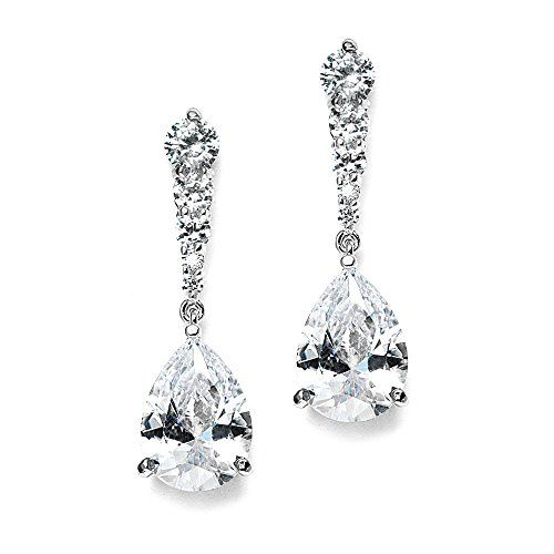 Mariell PearShaped Cubic Zirconia Drop Earrings with Tapered Top  Great for Brides Proms  Bridesmaids >>> You can get additional details at the image link. Note: It's an affiliate link to Amazon.