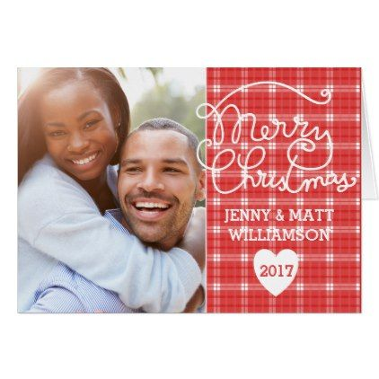 Red  White Plaid Photo Personalized Christmas Card - red gifts color style cyo diy personalize unique