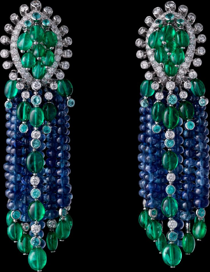 The Cartier Étourdissant collection: Earrings - platinum, sapphire beads, long emerald beads, Paraiba tourmalines, brilliant-cut diamonds.