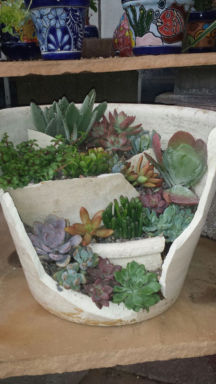 best Broken flower pots u upcycled garden planters images on