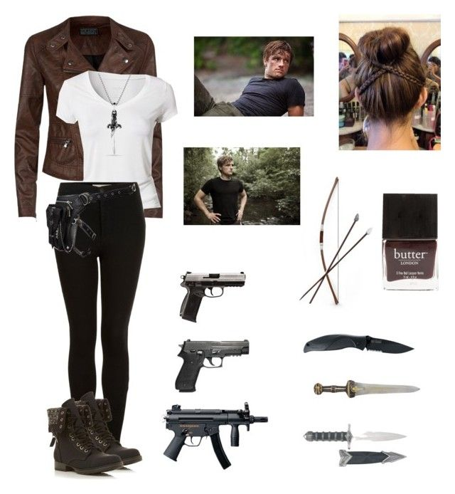 """Zombie apocalypse with Josh as a partner"" by seems99 ❤ liked on Polyvore featuring Calvin Klein, Topshop, Kershaw, Head Over Heels by Dune, David Yurman, Holster, Butter London and Bow & Arrow"