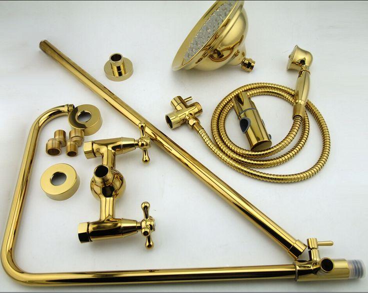 Becola бесплатная доставка роскошный комплект для золотой цвет душ установлен на две головы душ круглый дождь возглавляет hy-853