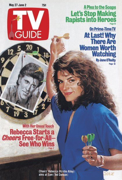 TV Guide May 27, 1989 - Ted Danson and Kirstie Alley of Cheers. Illustration by John Solie.