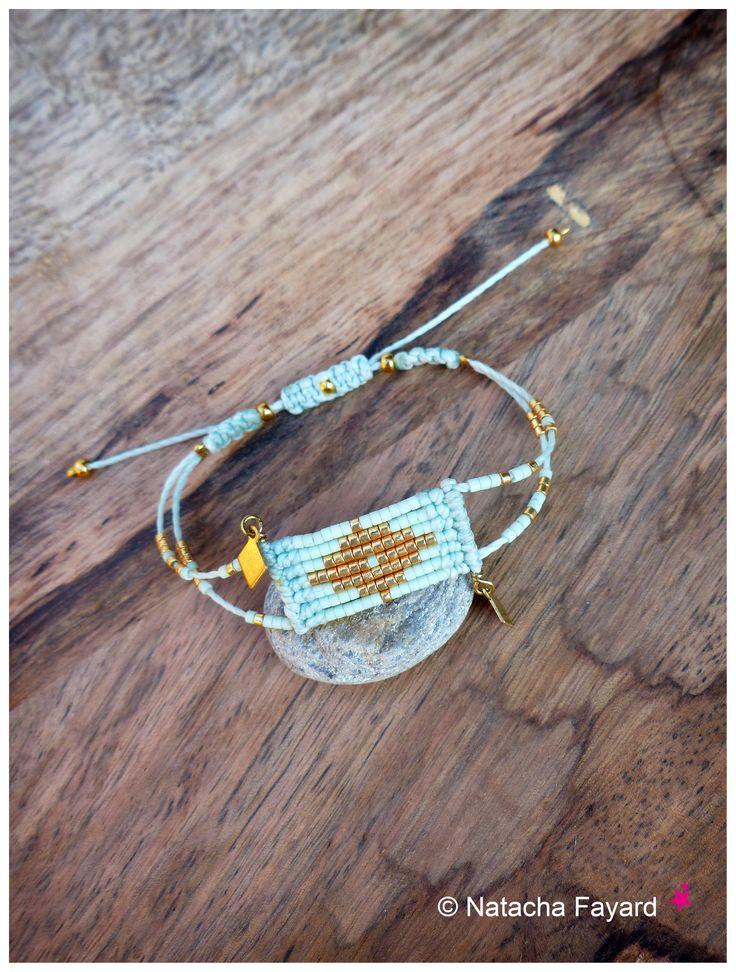 Miyuki delica and micro macrame - Woven bracelet graphic diamond patterns - 6…                                                                                                                                                                                 Plus