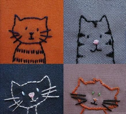 {Embroidery}, bags, clothes, embroidered cute little kitty. [A group meatball]
