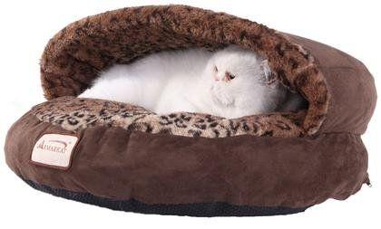 Armarkat Cat Bed - Mocha & Leopard - Free Shipping