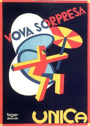 Fortunato DEPERO: Poster pubblicitario per Uova a sorpresa Unica.
