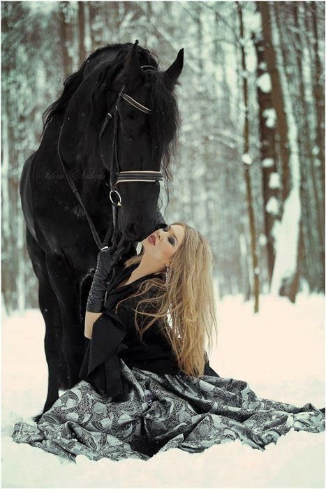 Black horse and owner.  <3 this pic.  Wish I would have done this...