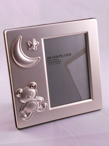 Silver Baby frame Bear and Moon 3 x 4 – Purple Clover Photo Frames and Giftware