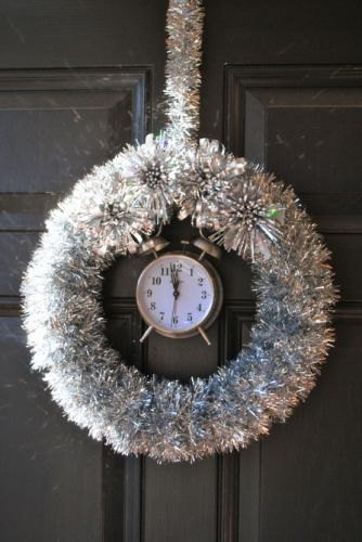 Sparkling, Tick-Tocking New Years Eve Wreath.