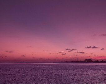 Arte de la lona puesta de sol, atardecer del océano, arte de la pared morada, romántico, océano lona impresión, puesta del sol fotografía, gran tamaño lienzo, 16 x 24, 24 x 36, 32 x 48