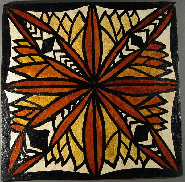 Samoan tapa, siapo, cloth on panel