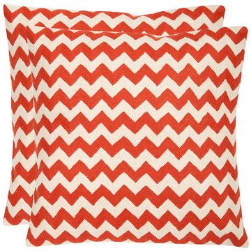Striped Tealea 22x22 Orange Pair by Pillow Pairs