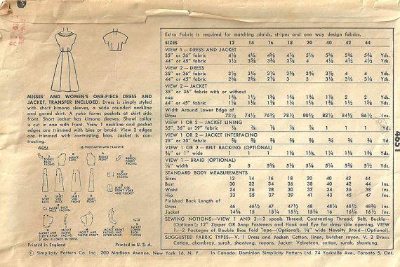 Dit is een patroon van de vintage naaien van eenvoud, ontworpen in 1954. De patroon maakt een shirtwaist jurk met grote zakken en een bolero jasje. Grootte 18: Buste 36---taille 30---heup 39. Het zorgvuldig is gebruikt en is voltooid. De instructies en de overdracht zijn inbegrepen. De envelop is in versleten voorwaarde en komt in een archivering hoes.  Voor meer vintage patronen voor kleding: http://www.etsy.com/shop/studioGpatterns?section_id=6940891  Om alle mijn vintage patronen te zien…