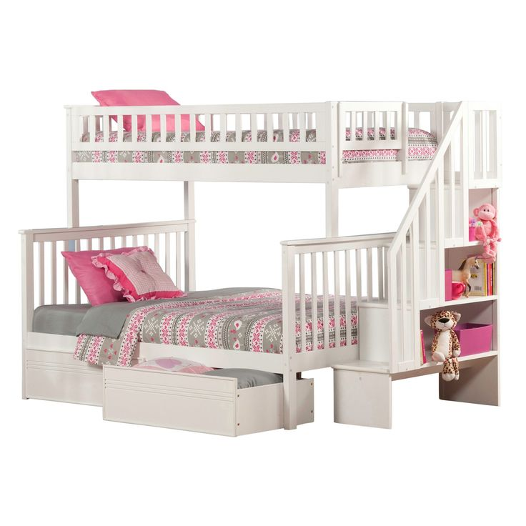 Atlantic Woodland Staircase Bunk Bed Twin over with Flat Panel Bed Drawers in
