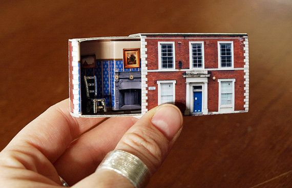 Matchbox House Miniature Room inside a por SuitcaseDollhouse, $16.50