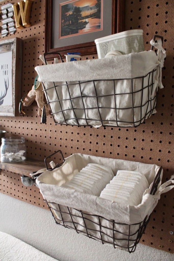I love the idea of a peg board over the change table to hold baskets for diapers and everything else you'll need, out of reach of little fingers!