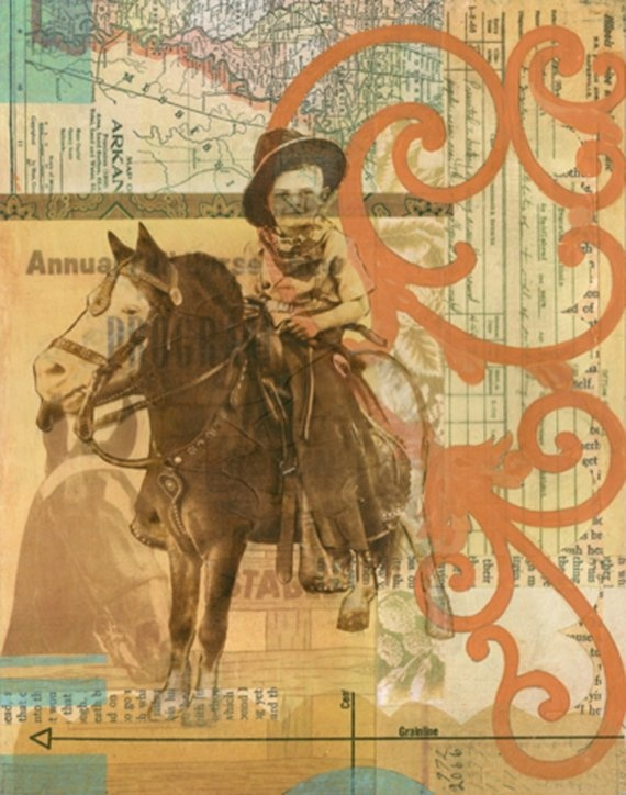 Contemporary Western Art Mixed Media Collage by by