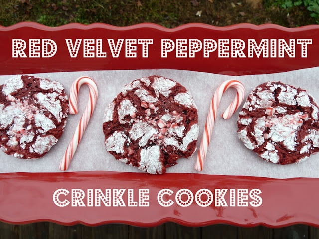 Red Velvet Peppermint Crinkle Cookies