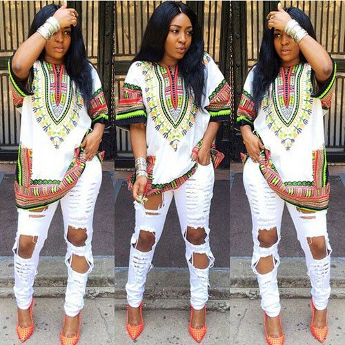 2016 Women African Dashiki Shirt Kaftan Boho Hippe Gypsy Festival Tops Party Dress