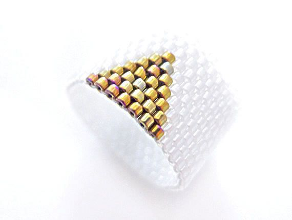 White Beaded Ring Gold Triangle Ring Geometric by JeannieRichard, $30.00