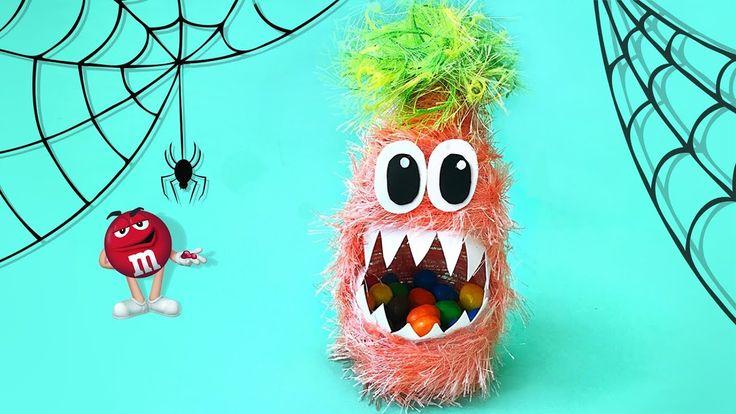 Monstruo con M&M's dentro. Decoración para Halloween. Halloween DIY.