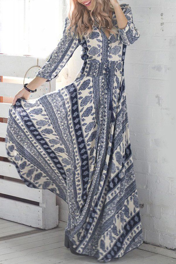 Plunging Neck Vintage Print Maxi Dress