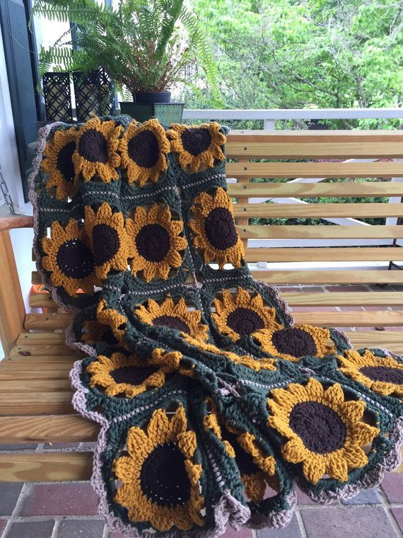 Handmade Grandma Square Sunflower afghan dorm room decor, graduation gift, cheerful bright gift for all ages, home decor, warming the house