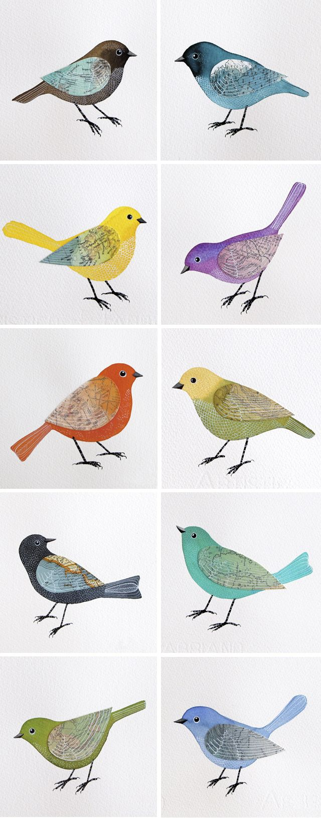 I love Geninne's birds! Here are some new ones she painted.