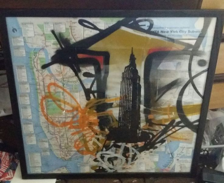 New York City Transport Map with empire state building graffiti art. Original artwork - this is not a print. 24 inch high by 23 inch wide. Collection only due to this being a glass piece of artwork. May post but can only guarantee collection. ***After doing some research the artist I believe is Kevin Marcell as it's signed Marcell who does this kind of art. I've searched various art sites & Google images to no avail on actually confirming t...