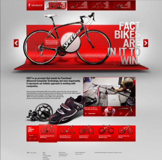 Beautiful website with depth for Fact Bikes