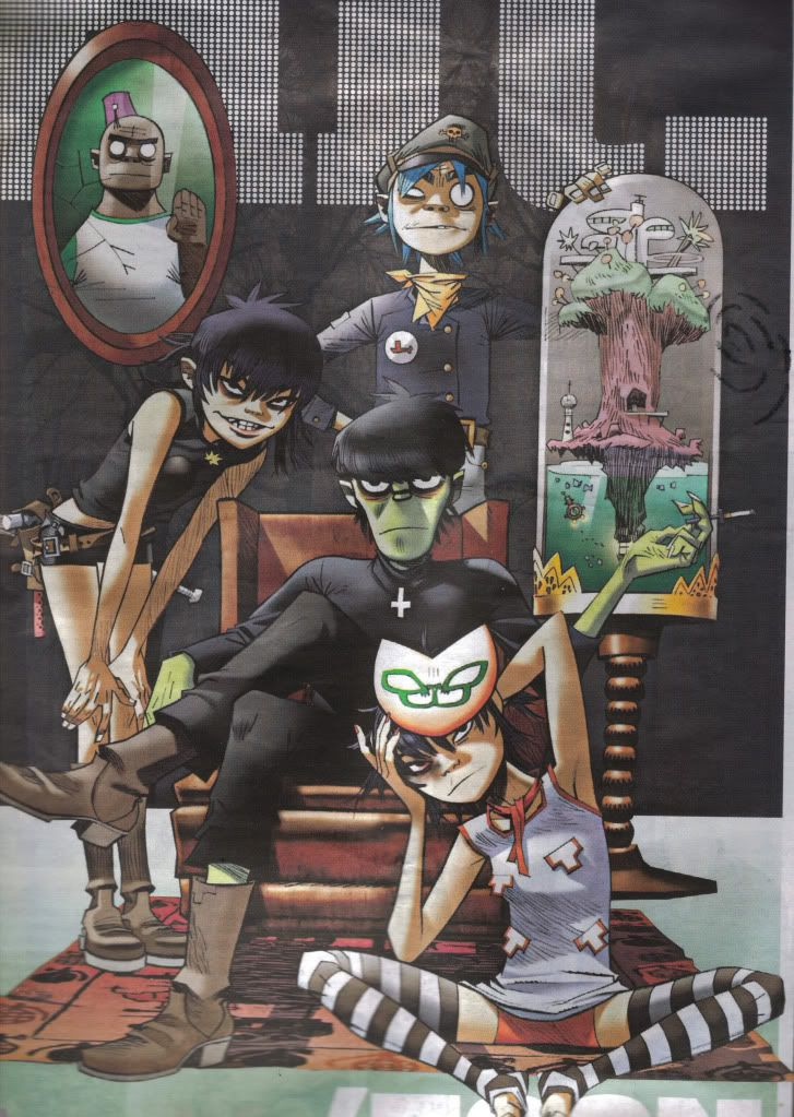 gorillaz.clockwise 2D, Plastic beach map, (the real) Noodle, Murdoc Niccals, (cyborg) Noodle, Russel Hobbs (after being turned into a giant)