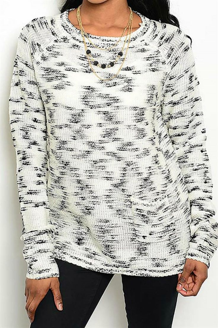 Cozy marble sweater with adorable pocket detail. Pair with skinny jeans and boots.   Marled Sweater by Pretty Little Things. Clothing - Sweaters - Crew & Scoop Neck New Hampshire