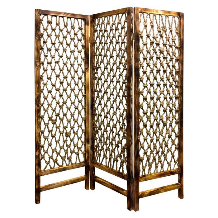 "Screen Gems 69"" x 60"" Rope Screen 3 Panel Room Divider | Wayfair"