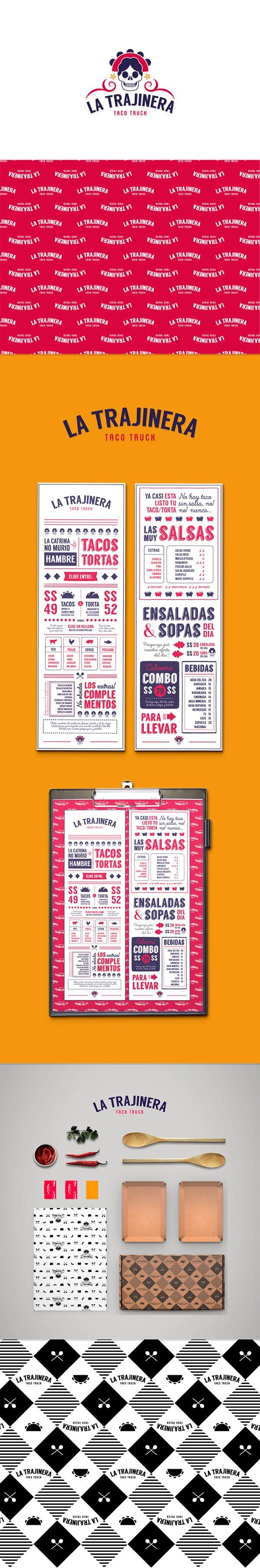 Concepto de branding y packaging para un food truck de comida rápida mexicana. Diseño de identidad corporativa, menús y cajas contenedoras de alimentos. Branding and packaging concept for a fast mexican food truck. Corporate identity, menu and take away…