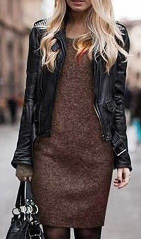 Love the Black Leather Paired with Brown! Round Collar Long Sleeve Solid Color Loose-Fitting Women's Dress #Layered #Fashion #Black #Leather #Jacket #Brown #Work #Dress #Outfit #Ideas
