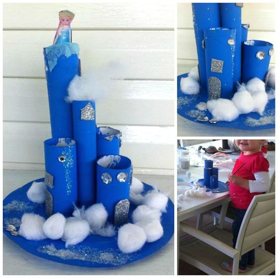Make a frozen elsa castle craft using toilet paper rolls, paint, and cotton balls! Perfect for the kids!