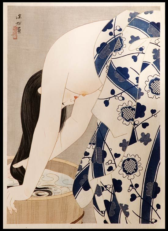 Ito SHINSUI ( 1898 - 1972 )  Washing the Hair ( aka Tresses )