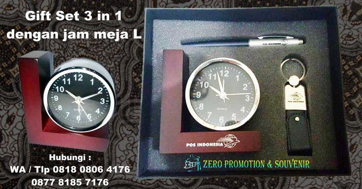 Jual Barang Promosi Gift Set 3 in 1 dengan jam meja L