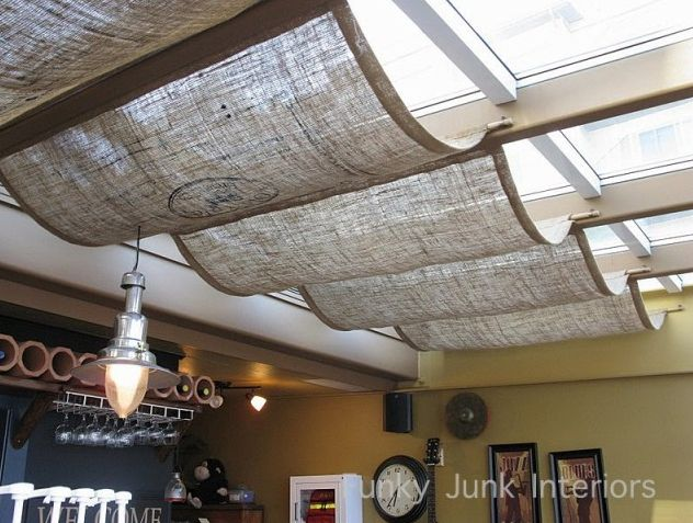 skylights fabric shades--actually, I'm doing this on my pergola over-hang on my patio..so simple. I'm using drop cloths; great neutral color & inexpensive!