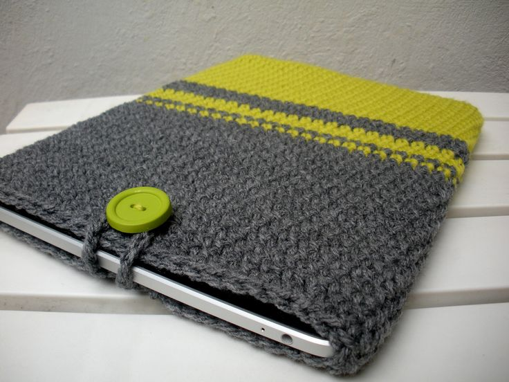 iPad Cover Crochet iPad Sleeve in Color Block Neon and Grey Gift for Him. $26,00, via Etsy.