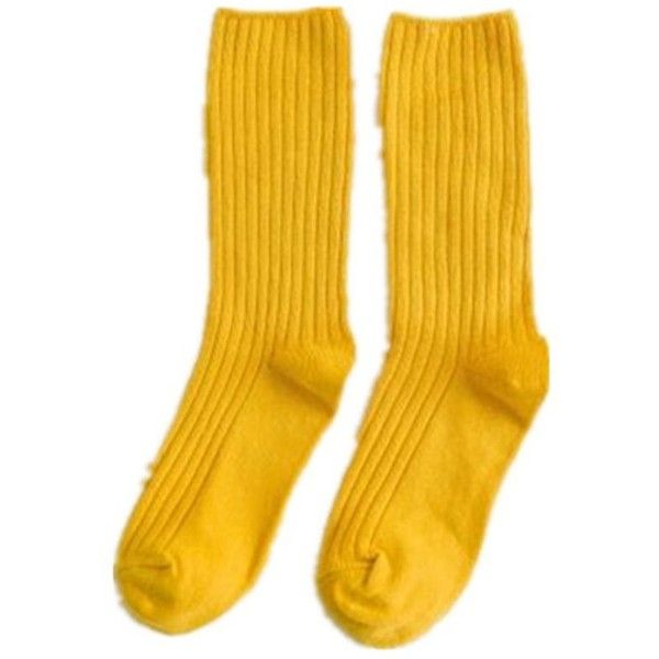 Yellow Fashion Simple Style Plain Wide Stripes Pile Socks ($6.31) ❤ liked on Polyvore featuring intimates, hosiery, socks and yellow socks