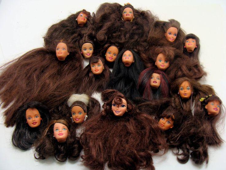 Old barbie doll head lot-brunette barbie doll heads- dark hair barbie head-vintage doll head-old barbie doll lot-brown hair barbie doll head by BECKSRELICS on Etsy